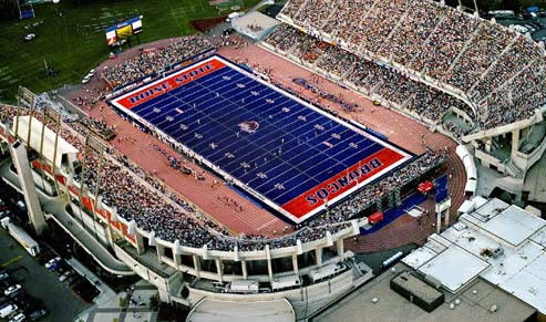 Catch the Bronco's in action at Bronco Stadium on game day with hoards of excited fans.