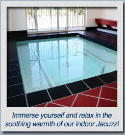 Immerse yourself and relax in the soothing warmth of the indoor jacuzzi tub at our Mr Sandman Inn & Suites motel.